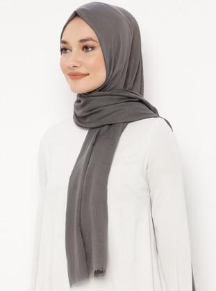 Gray - Plain - Shawl - Renkli Butik