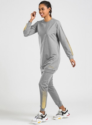 Gray - Crew neck - Tracksuit Set