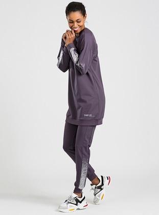 Purple - Crew neck - Tracksuit Set