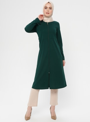 Green - Emerald - Unlined - Crew neck - Topcoat - ZENANE