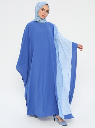Blue - Baby Blue - Unlined - Crew neck - Abaya