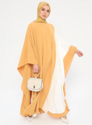 Ecru - Mustard - Unlined - Crew neck - Abaya