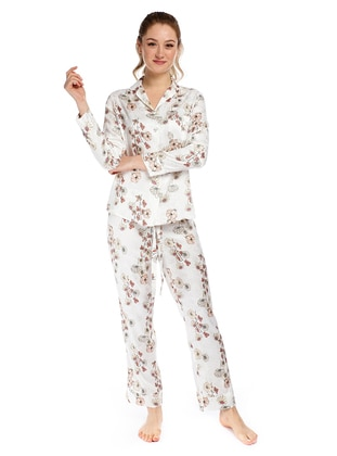 Ecru - V neck Collar - Floral - Viscose - Pyjama