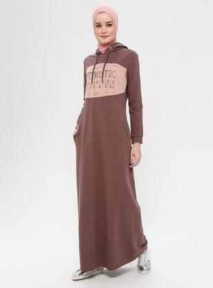 Brown - Multi - Unlined - Cotton - Dress
