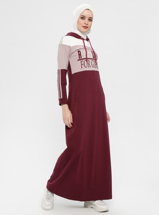 Plum - Multi - Unlined - Cotton - Dress