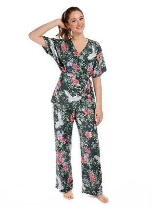 Green - Multi - Viscose - Pyjama