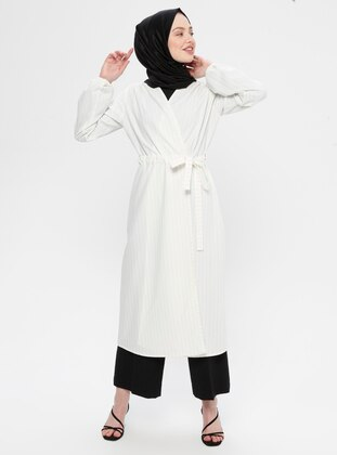 Cream - Stripe - Unlined - Shawl Collar - Topcoat