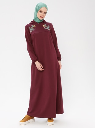 Plum - Unlined - Cotton - Dress