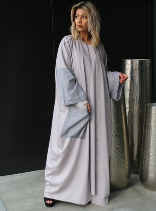 Gray - Unlined - Crew neck - Cotton - Abaya
