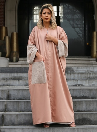 Salmon - Unlined - Crew neck - Cotton - Abaya