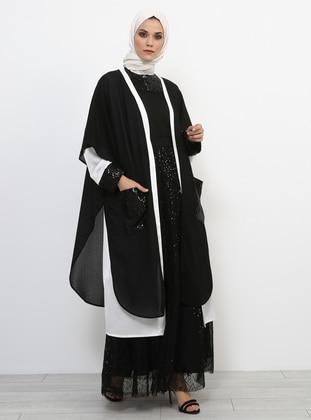 Black - Ecru - Evening Abaya