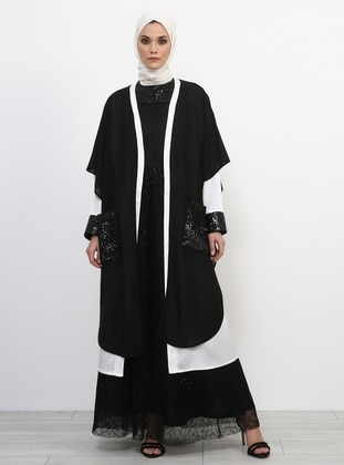 Black - Ecru - Evening Abaya