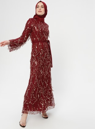 Maroon - Multi - Fully Lined - Crew neck - Muslim Evening Dress