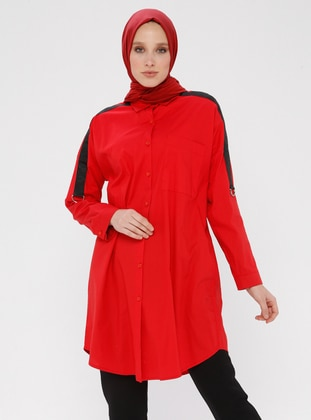 Red - Button Collar - Cotton - Blouses