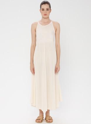 Cream - Boat neck - Unlined - Cotton - Dress