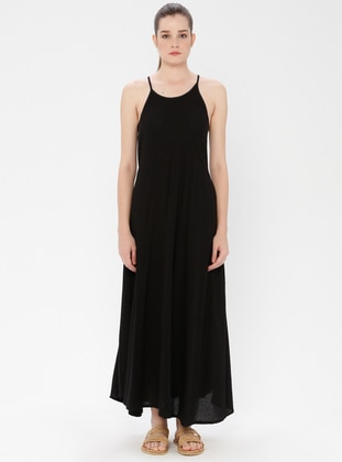 Black - Boat neck - Unlined - Cotton - Dress