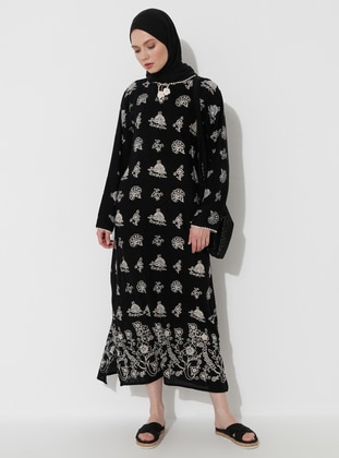 Black - Multi - Crew neck - Unlined - Cotton - Dress