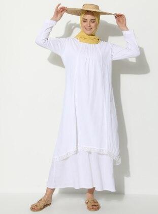 White - Ecru - Crew neck - Fully Lined - Cotton - Dress