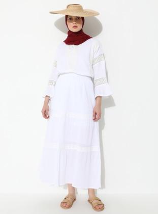 White - Ecru - Fully Lined - Cotton - Skirt