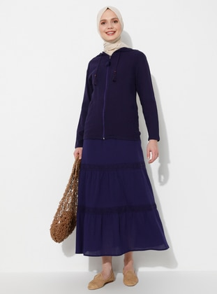 Purple - Fully Lined - Cotton - Skirt