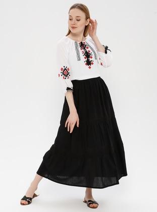 Black - Fully Lined - Cotton - Skirt