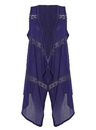 Purple - Unlined - Shawl Collar - Cotton - Vest