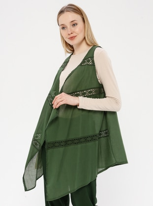 Green - Unlined - Shawl Collar - Cotton - Vest