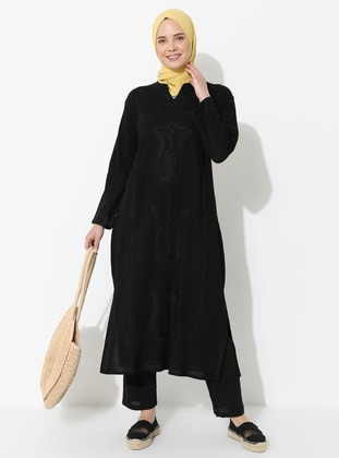 Black - V neck Collar - Unlined - Cotton - Dress