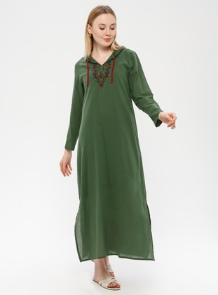 Green - V neck Collar - Fully Lined - Cotton - Dress