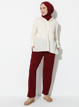 Maroon - Cotton - Pants