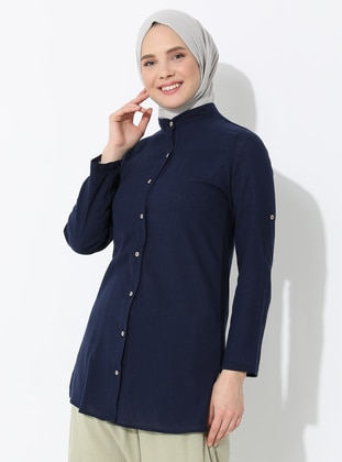 Navy Blue - Navy Blue - Button Collar - Cotton - Tunic