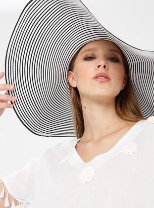 White - Ecru - V neck Collar - Cotton - Tunic