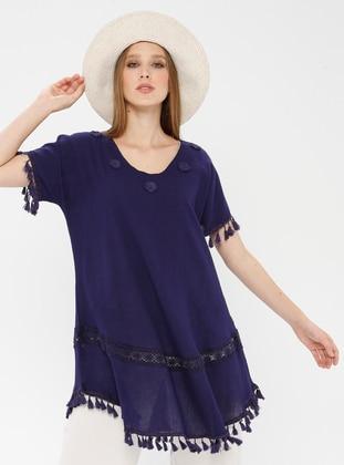Purple - V neck Collar - Cotton - Tunic