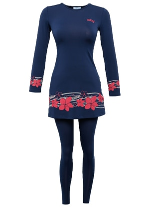 Navy Blue - Floral - Fully Lined - Half Covered Switsuits