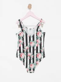 Multi - Floral - Stripe - Unlined - Half Covered Switsuits