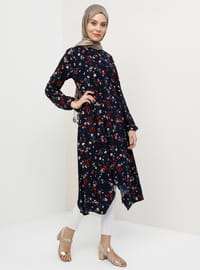 Navy Blue - Floral - Point Collar - Tunic