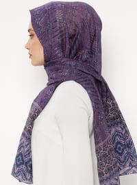 Purple - Printed - Cotton - Shawl - Renkli Butik