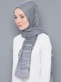 Gray - Striped - Printed - Cotton - Shawl