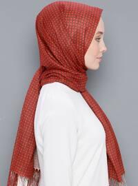Terra Cotta - Printed - Plaid - Cotton - Shawl