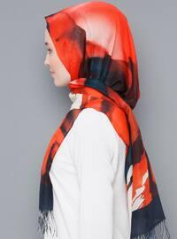 Petrol - Striped - Printed - Cotton - Shawl