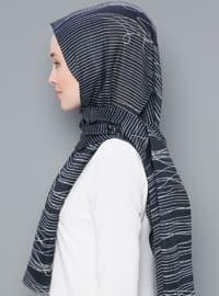 Black - Striped - Printed - Cotton - Shawl