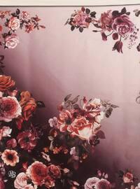 Ecru - Baby Blue - Floral - Digital Printing - Scarf - Renkli Butik