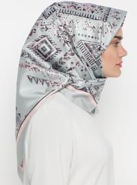 Gray - Digital Printing - Ethnic - Scarf - Renkli Butik