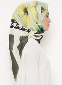 Khaki - Printed - Digital Printing - Scarf - Renkli Butik