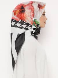 Black - Printed - Digital Printing - Scarf - Renkli Butik