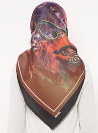 Black - Maroon - Printed - Digital Printing - Scarf - Renkli Butik