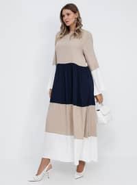 Brown - Beige - Camel - Unlined - Crew neck - Viscose - Plus Size Dress