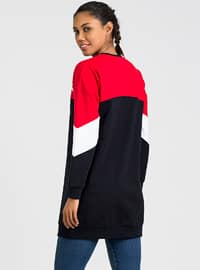 Red - Navy Blue - Crew neck - Tracksuit Top