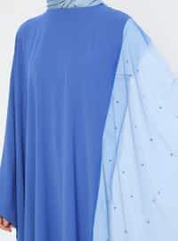 Mavi - Gök Mavisi - Astarsız kumaş - Yuvarlak yakalı - Ferace