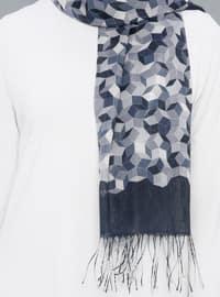 Black - Printed - Geometric - Cotton - Shawl